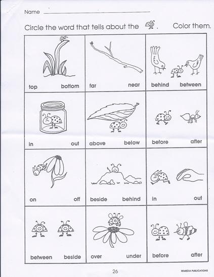 Kindergarten Positional Words Worksheets - Delibertad