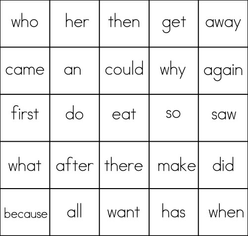 Printables Grade One Sight Words sight word game bingo word