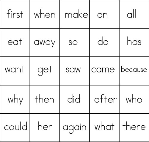 Sight Word Game Bingo
