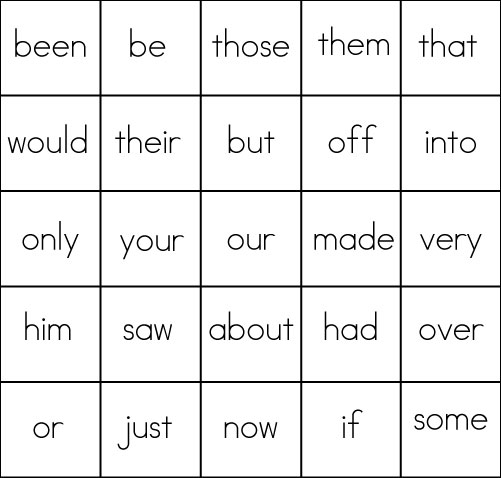 The bingo card noted below was created using the above high frequency ...