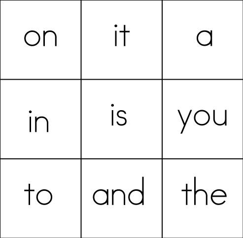 sight word Printable Bingo Word Word , Games Bingo Game, games printable Kindergarten  matching Sight