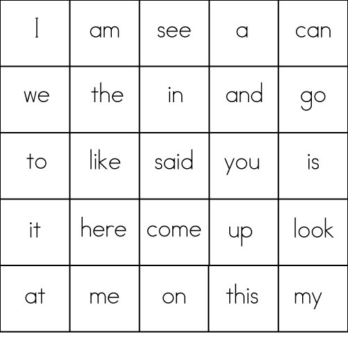 Sight Word Game BINGO – High Frequency Words Kindergarten Worksheets