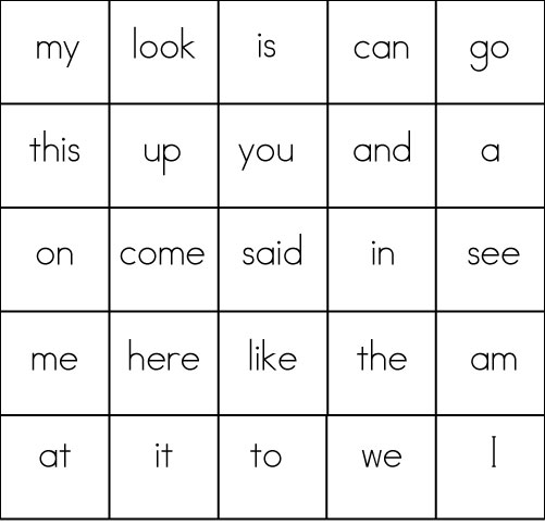 2 Sight printable  Bingo Card word sight Word kindergarten