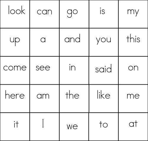 Sight Word Game BINGO – Site Word Worksheets for Kindergarten