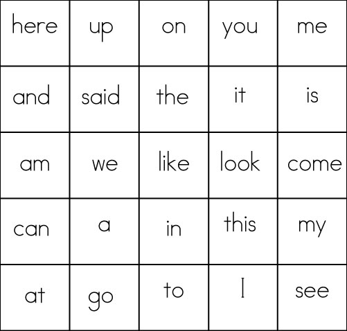Sweet image throughout sight word bingo printable