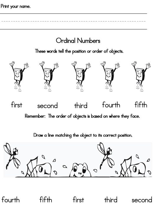 Ordinal Numbers – Ordinal Number Worksheets for Kindergarten