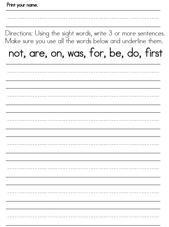 Worksheets Worksheet For First Grade first grade sight word worksheets