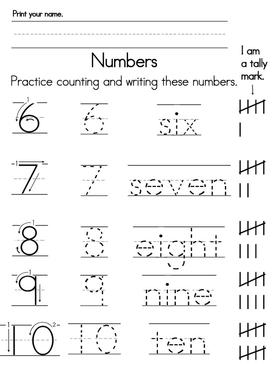 Number handwriting worksheets for kindergarten