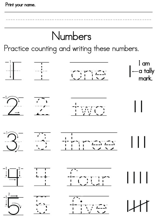 Number Worksheets – Writing Numbers Worksheet for Kindergarten