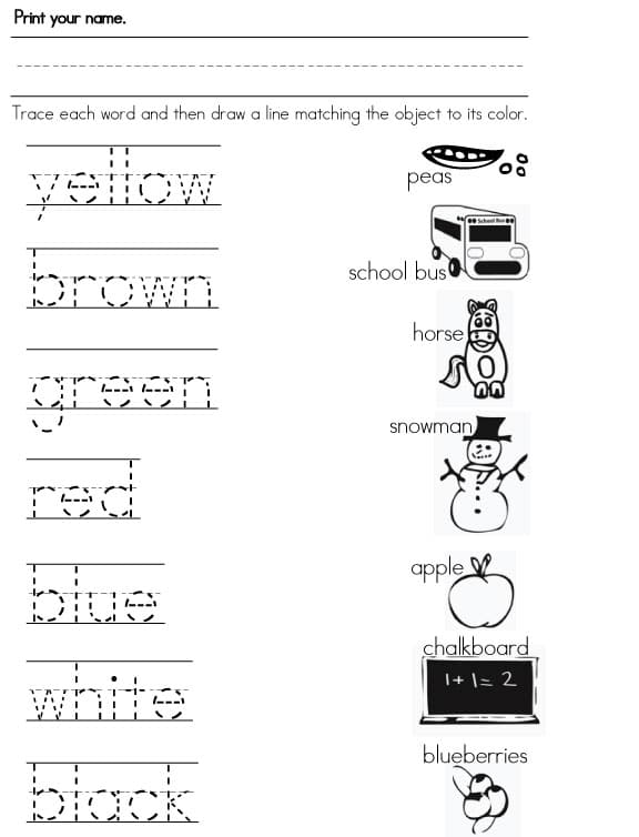 Color Words Worksheets : Color worksheets