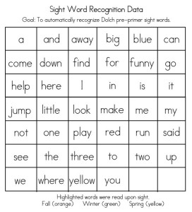 sight word flash card checklist
