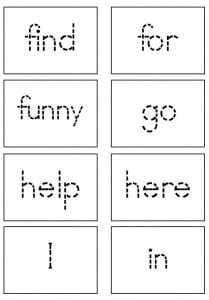 regular font pre primer flash cards