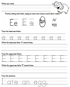 Handwriting letter e printable homework