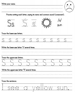 s handwriting sheet