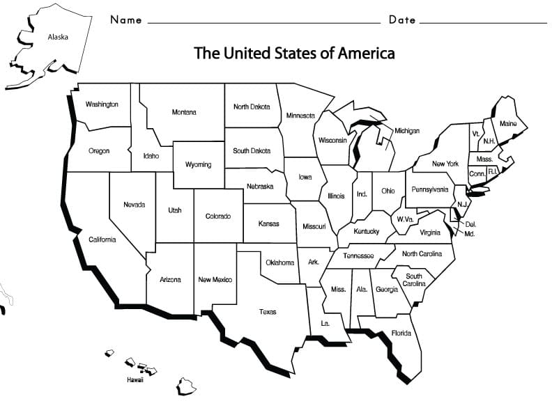 united states map with words Usa States Sight Words Reading Writing Spelling Worksheets