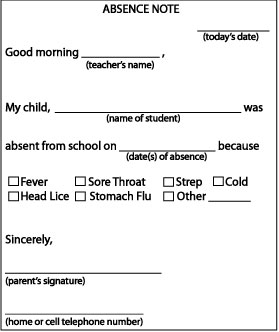 how to write a fake sick note for school