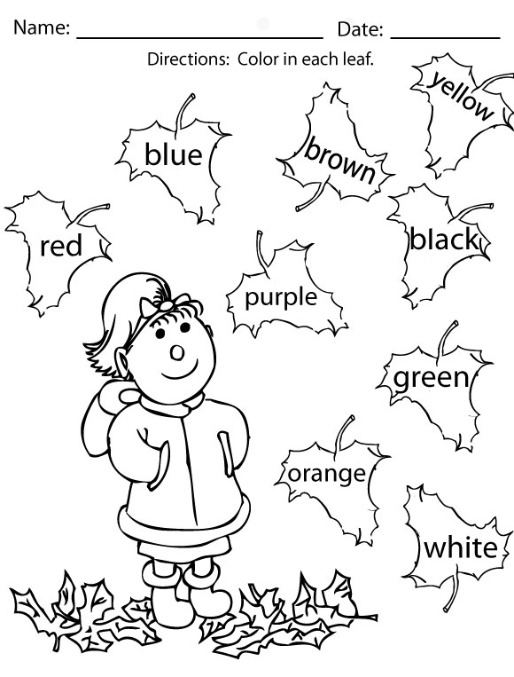 graphic regarding Fall Printable Activities identify Drop Coloring Web pages and Things to do - Sight Phrases, Reading through