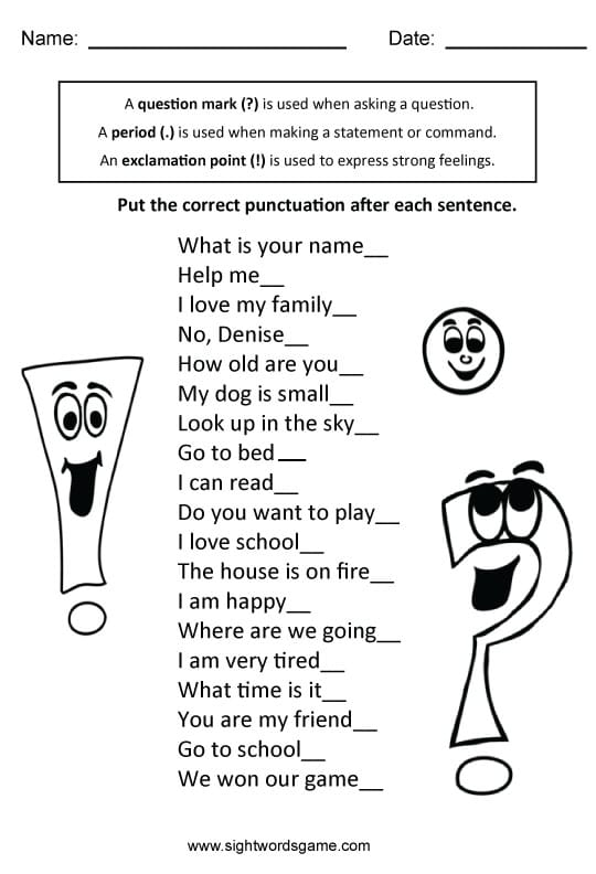 Types of Sentences - Sight Words, Reading, Writing, Spelling ...