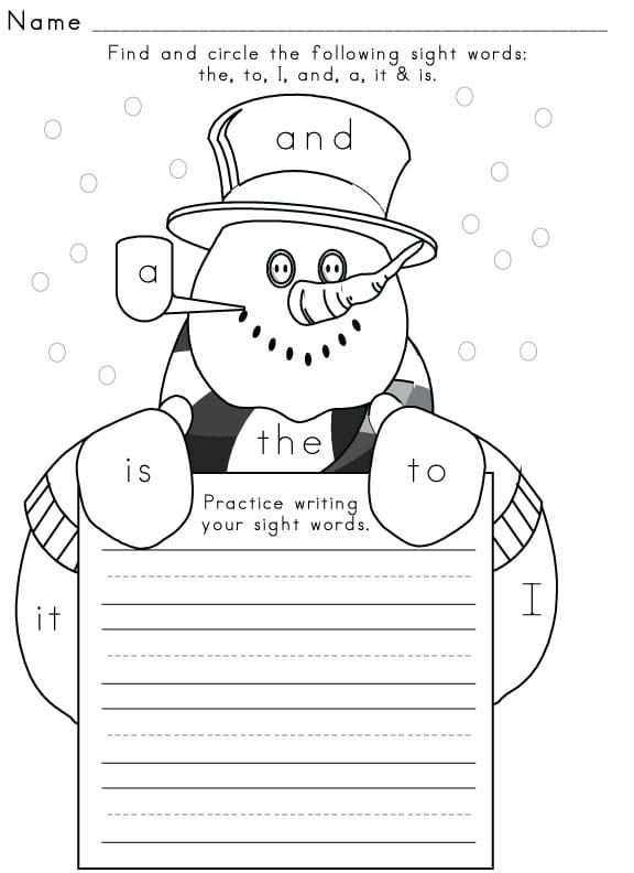 Sight Word Worksheet – Winter Worksheets for Kindergarten