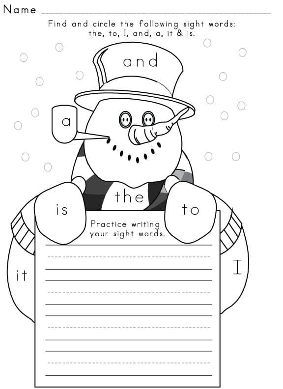 Sight Word Worksheet – Winter Math Worksheet