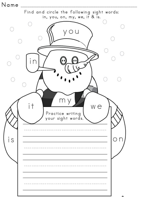 Sight Word Worksheet – Kindergarten Worksheets for English