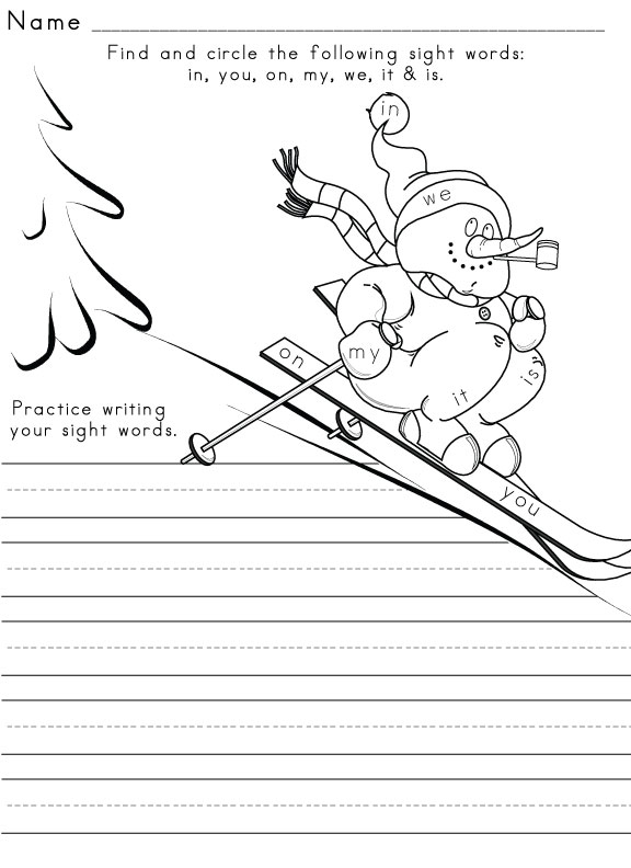 Winter worksheet Sight word Worksheet sight  3 Word
