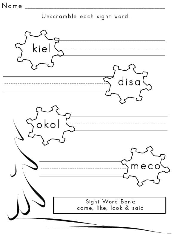 Printables Sight Word Worksheets sight word worksheet winter 5