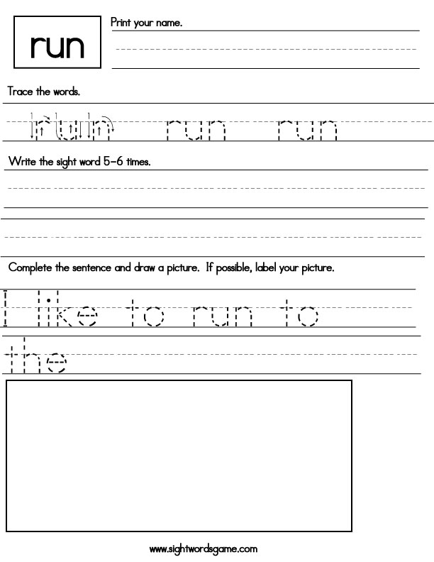 Sight-words-worksheet---run