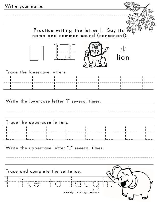 letter i worksheets the letter l sight words reading writing spelling 11763 | Letter L Worksheet 1