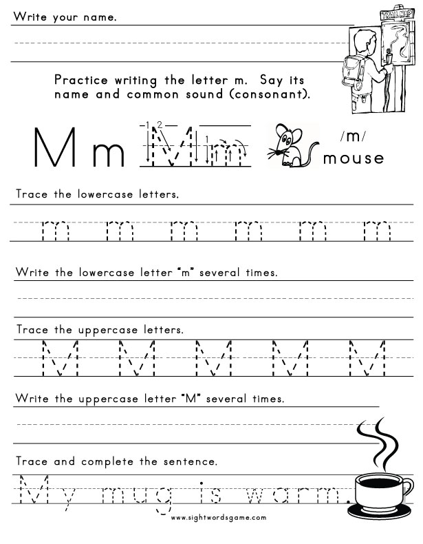 The Letter M - Sight Words, Reading, Writing, Spelling & Worksheets