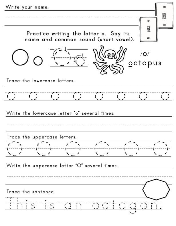 Letter O Worksheets
