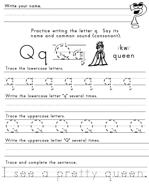 the letter q sight words reading writing spelling worksheets. Black Bedroom Furniture Sets. Home Design Ideas