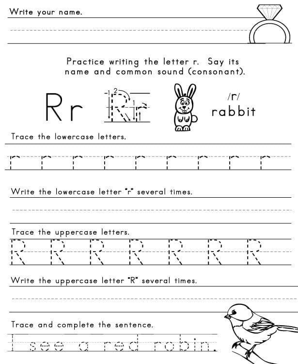 The Letter R Sight Words Reading Writing Spelling Worksheets