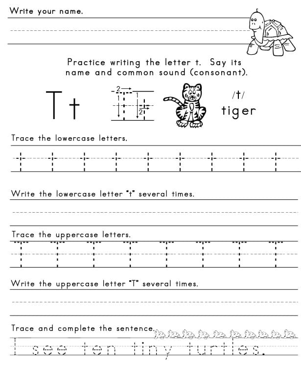 Letter T Worksheets: The Letter T,