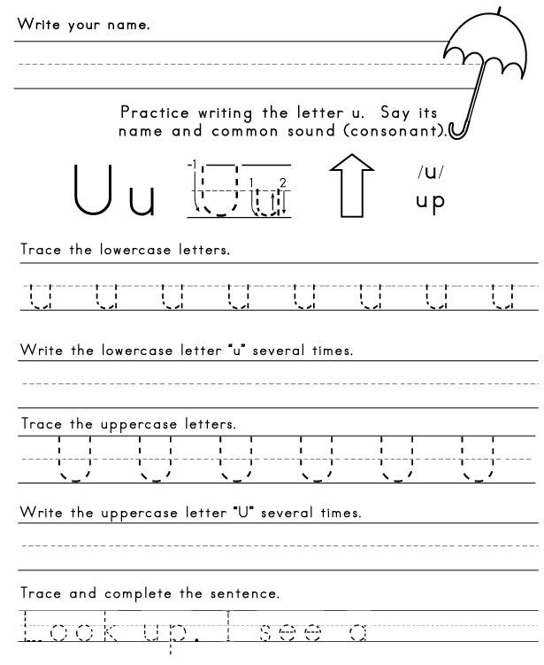 Letter U Worksheets The letter u
