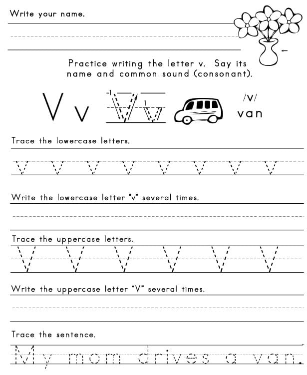 Worksheets Letter V Worksheet the letter v