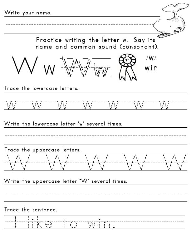 The Letter W – Letter V Worksheets for Kindergarten
