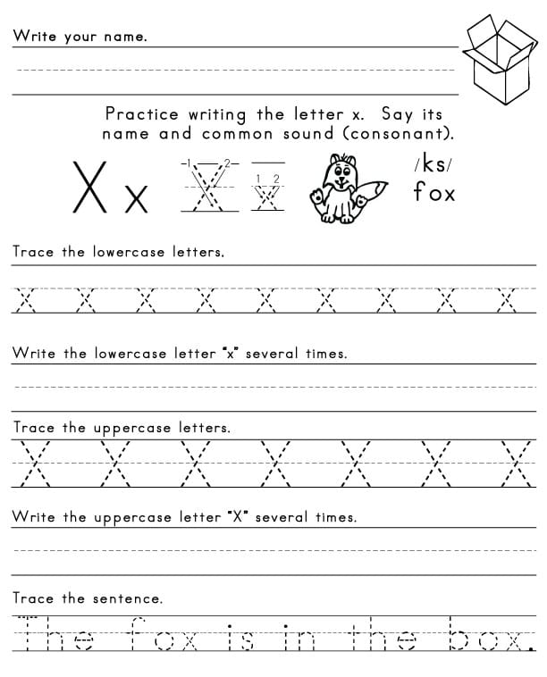 the letter x sight words reading writing spelling worksheets. Black Bedroom Furniture Sets. Home Design Ideas