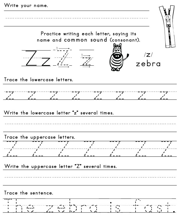 the letter z sight words reading writing spelling worksheets. Black Bedroom Furniture Sets. Home Design Ideas