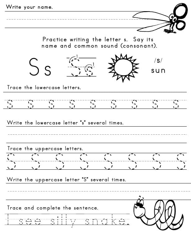 The Letter S - Sight Words, Reading, Writing, Spelling ...