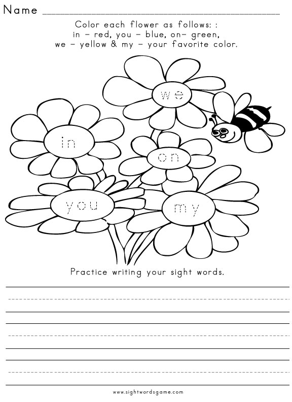 word  sight printable kindergarten Worksheet 3 Sight Spring Word