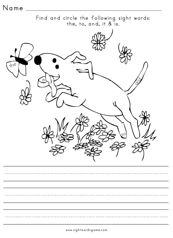 Sight Word Worksheet – Free Kindergarten Worksheets
