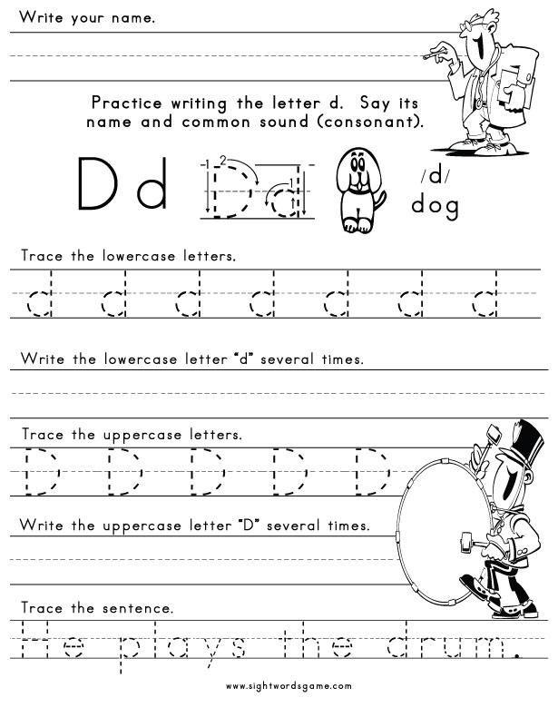 The Letter D Sight Words Reading Writing Spelling Worksheets