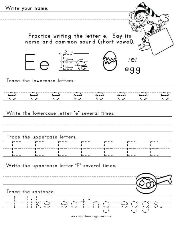 the letter e sight words reading writing spelling worksheets. Black Bedroom Furniture Sets. Home Design Ideas