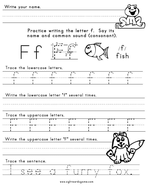 The Letter F - Sight Words, Reading, Writing, Spelling & Worksheets