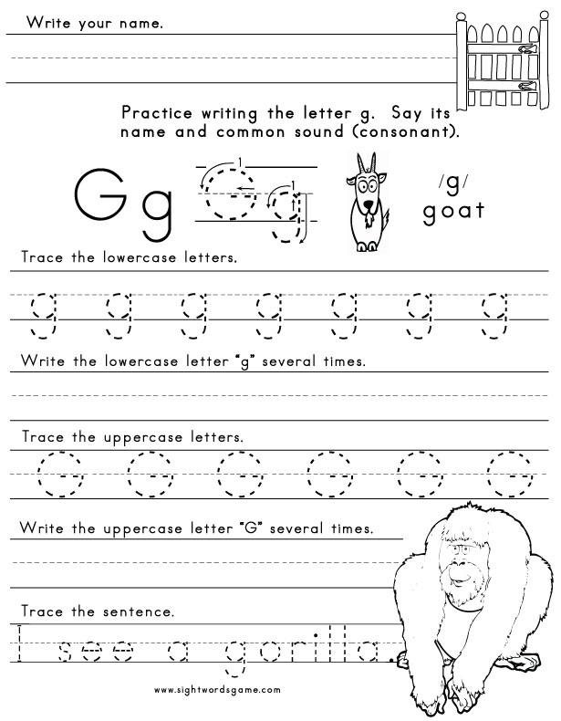 The Letter G Sight Words Reading Writing Spelling Worksheets