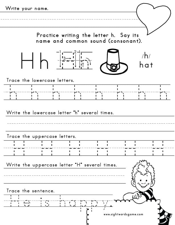 the letter h sight words reading writing spelling worksheets. Black Bedroom Furniture Sets. Home Design Ideas