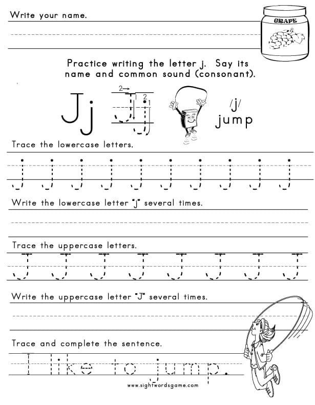 The Letter J  Sight Words Reading Writing Spelling  Worksheets Letter J Worksheets