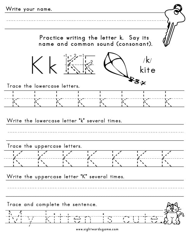 graphic about Letter K Printable called The Letter K - Sight Terms, Looking through, Crafting, Spelling