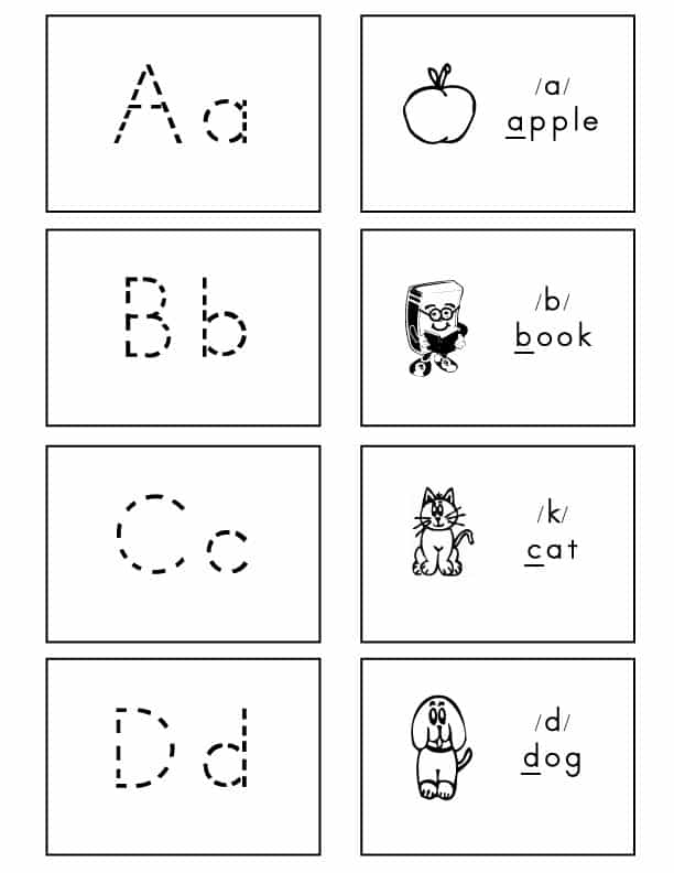 alphabet flash cards dotted lined font